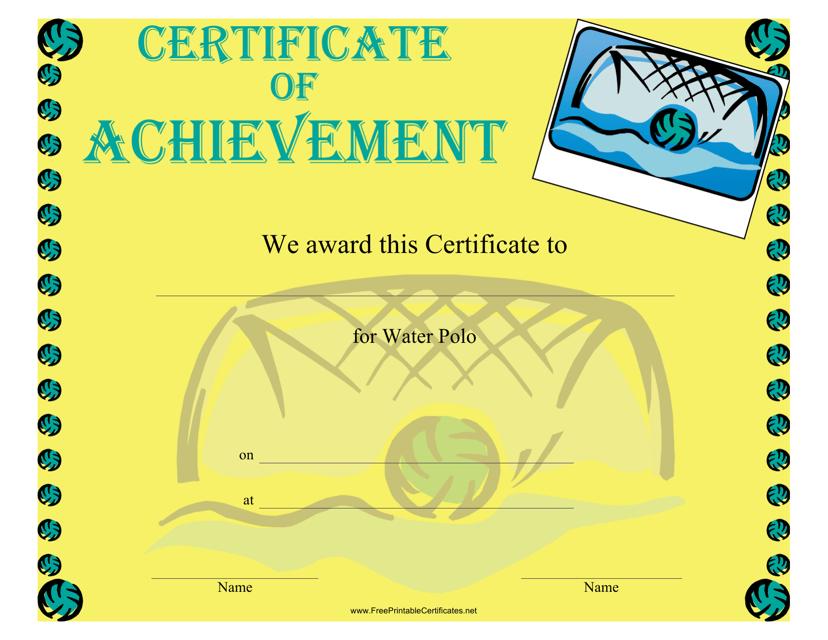 """Water Polo Achievement Certificate Template"" Download Pdf"