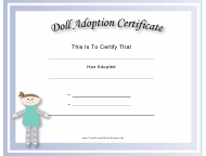 """Doll Adoption Certificate Template"""