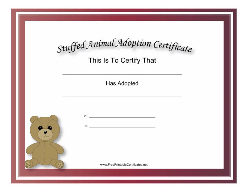 """Stuffed Animal Adoption Certificate Template"" Download Pdf"