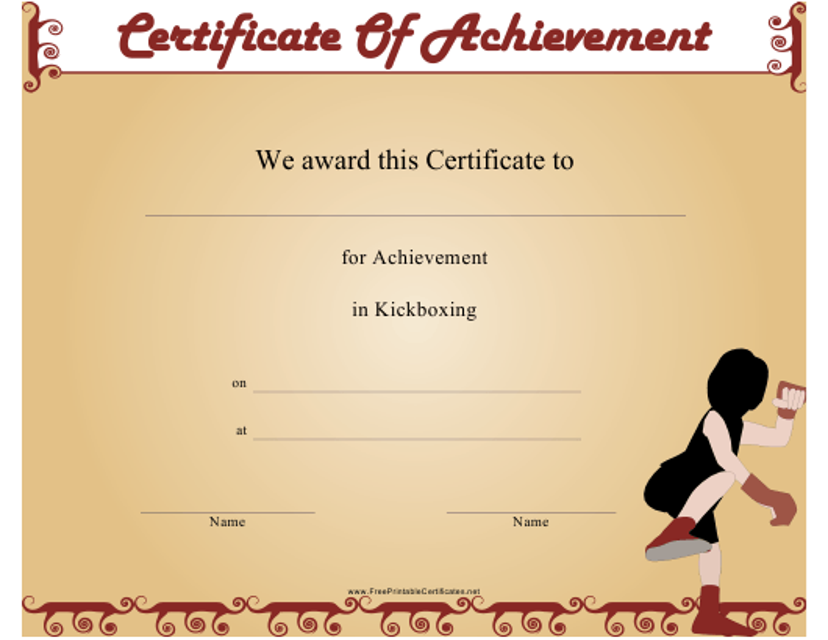 """Kickboxing Certificate of Achievement Template"" Download Pdf"
