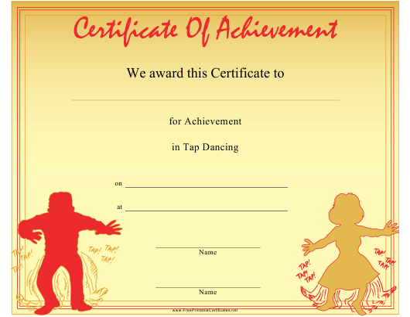 """Tap Dancing Certificate of Achievement Template"" Download Pdf"