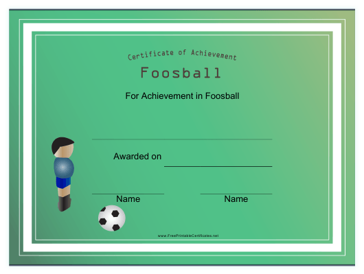 """Certificate Template of Achievement in Foosball"" Download Pdf"
