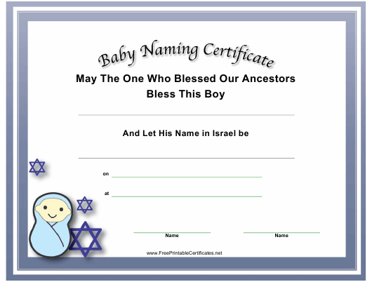 """Baby Naming Certificate Template"" Download Pdf"