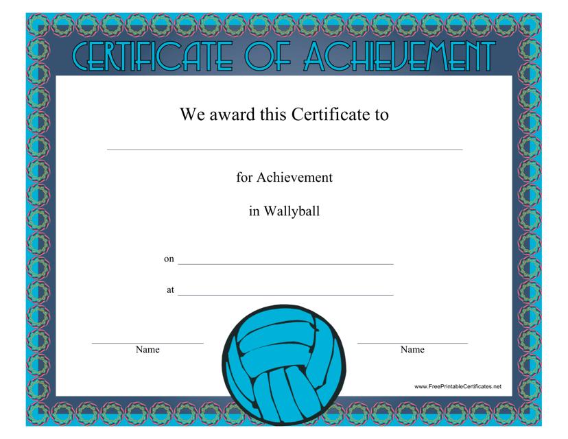 """Wallyball Certificate of Achievement Template"" Download Pdf"