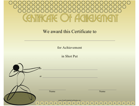 """Shot Put Certificate of Achievement Template"" Download Pdf"