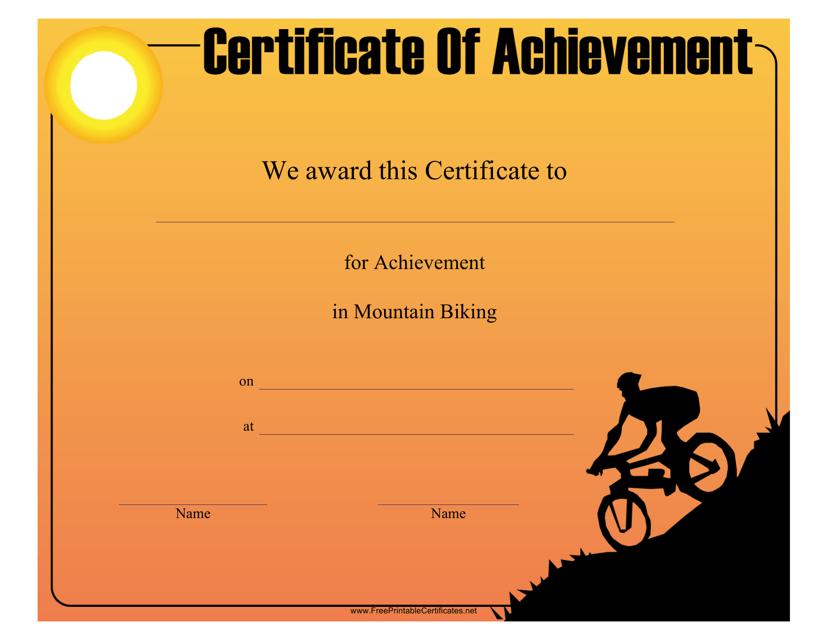 """Mountain Biking Achievement Certificate Template"" Download Pdf"