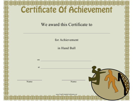 """""""Hand Ball Certificate of Achievement Template"""" Download Pdf"""