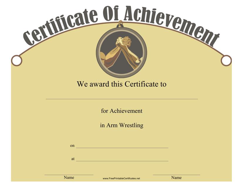 """Arm Wrestling Achievement Certificate Template"" Download Pdf"