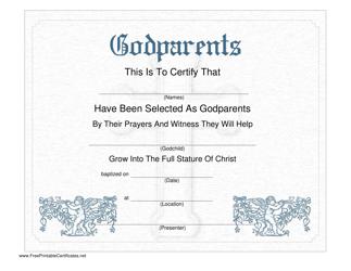 """Godparents Certificate Template"""