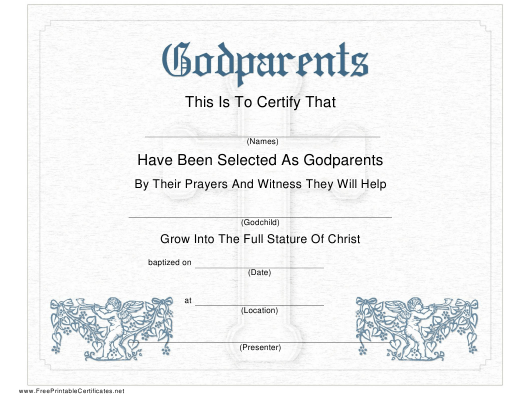"""Godparents Certificate Template"" Download Pdf"