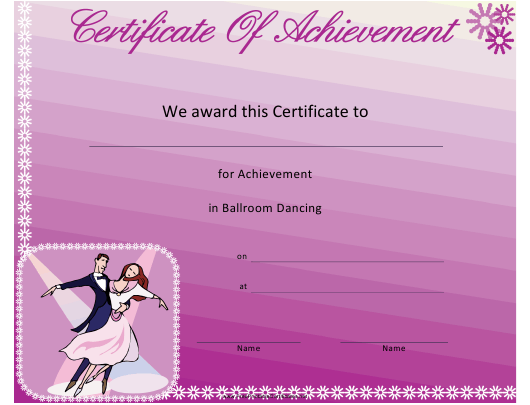 """Ballroom Dancing Achievement Certificate Template"" Download Pdf"