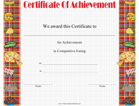 """""""Competitive Eating Certificate of Achievement Template"""" Download Pdf"""