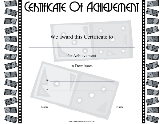 """Dominoes Certificate of Achievement Template"" Download Pdf"
