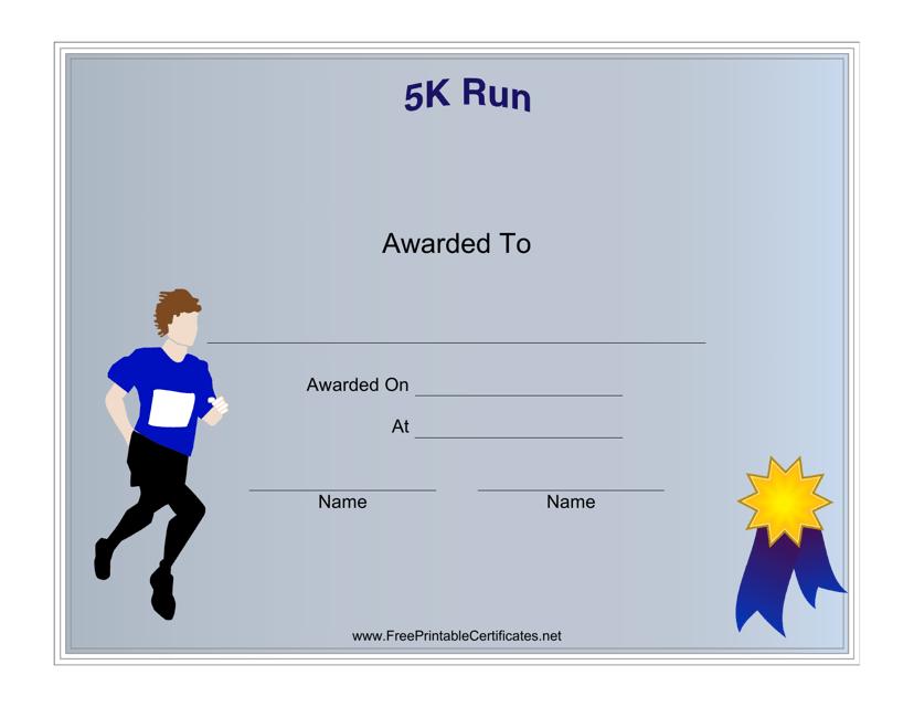"""Male 5k Run Award Certificate Template"" Download Pdf"