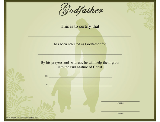 """""""Godfather Certificate Template"""" Download Pdf"""