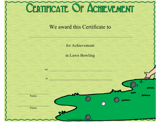 """Lawn Bowling Certificate of Achievement Template"" Download Pdf"