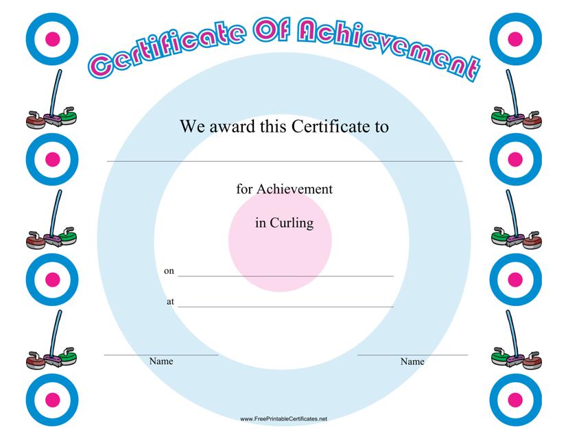 """Curling Achievement Certificate Template"" Download Pdf"