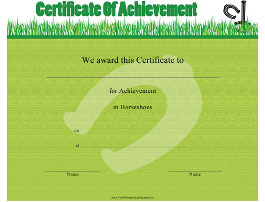 """Horseshoes Certificate of Achievement Template"" Download Pdf"