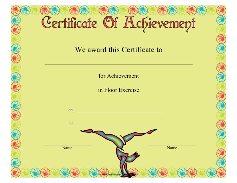 """Gymnastics Floor Exercise Certificate of Achievement Template"" Download Pdf"