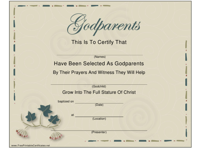 """Godparents Certificate Template"" Download Pdf"