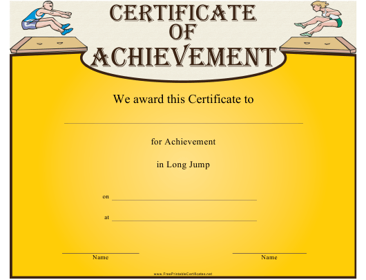 """Long Jump Certificate of Achievement Template"" Download Pdf"