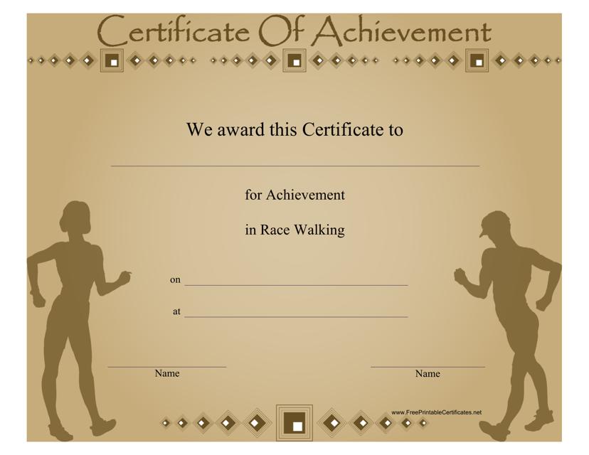 """Race Walking Certificate of Achievement Template"" Download Pdf"