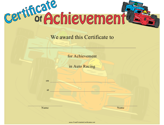 """""""Auto Racing Certificate of Achievement Template"""" Download Pdf"""