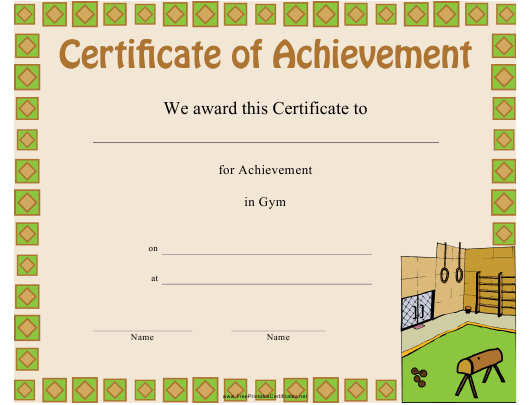 """Gym Certificate of Achievement Template"" Download Pdf"