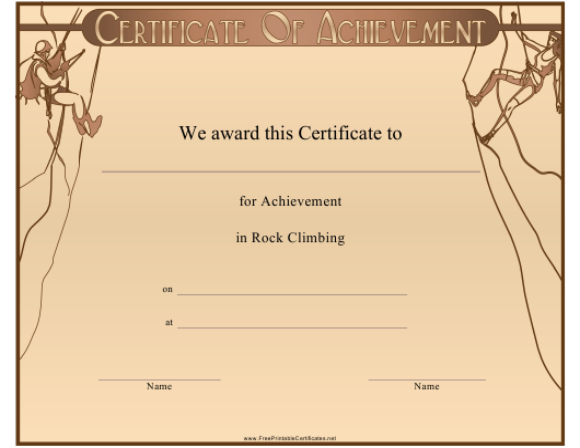 """Rock Climbing Achievement Certificate Template"" Download Pdf"