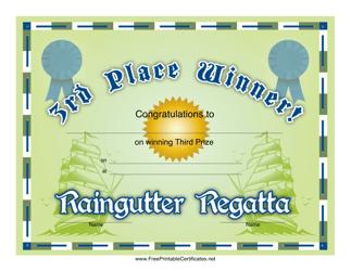 """Raingutter Regatta 3rd Place Certificate Template"""