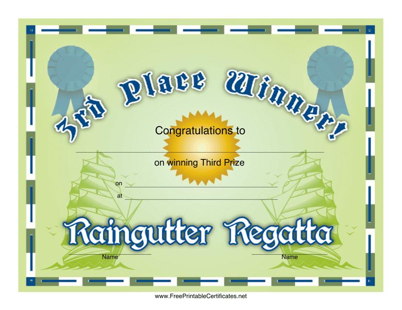 """Raingutter Regatta 3rd Place Certificate Template"" Download Pdf"