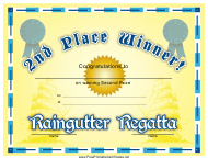 """Raingutter Regatta 2nd Place Certificate Template"""