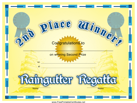 """Raingutter Regatta 2nd Place Certificate Template"" Download Pdf"