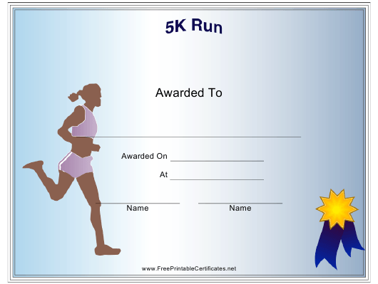 """Female 5k Run Certificate of Participation Template"" Download Pdf"