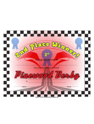 Pinewood Derby 2nd Place Certificate Template
