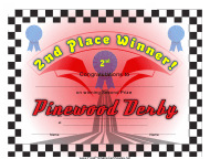 """Pinewood Derby 2nd Place Certificate Template"""