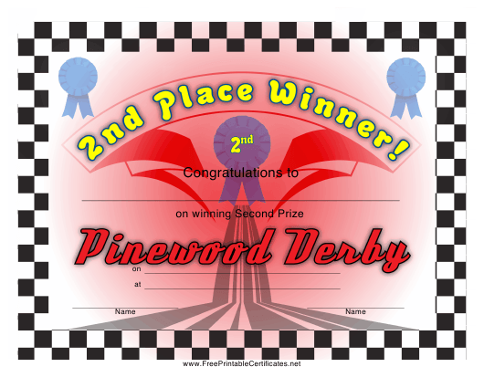 graphic relating to Free Printable Pinewood Derby Certificates known as Pinewood Derby 2nd Desired destination Certification Template Obtain