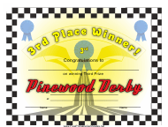 """""""Pinewood Derby 3rd Place Certificate Template"""""""