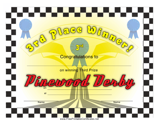 """Pinewood Derby 3rd Place Certificate Template"" Download Pdf"