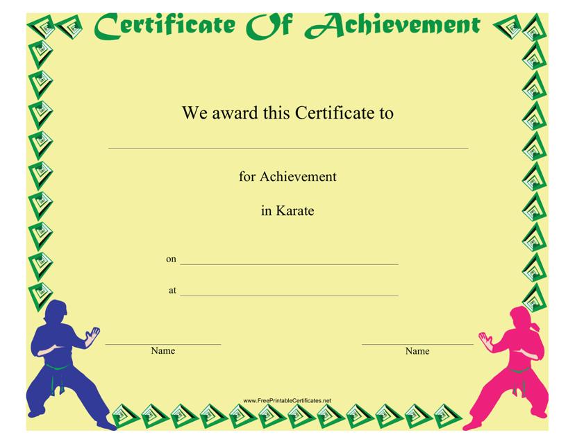 """Karate Certificate of Achievement Template"" Download Pdf"