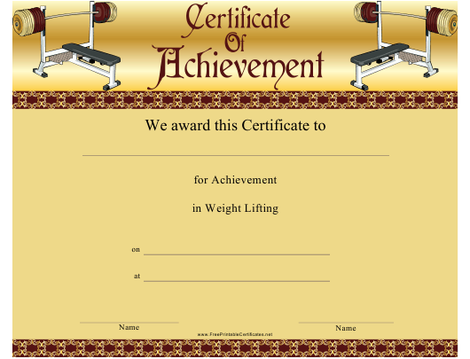 """Weight Lifting Certificate of Achievement Template"" Download Pdf"