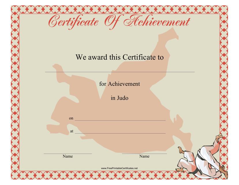 """Judo Certificate of Achievement Template"" Download Pdf"