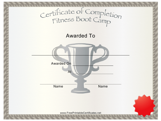 """Fitness Boot Camp Certificate of Completion Template"" Download Pdf"