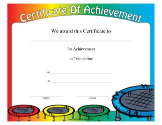 """Trampoline Certificate of Achievement Template"""