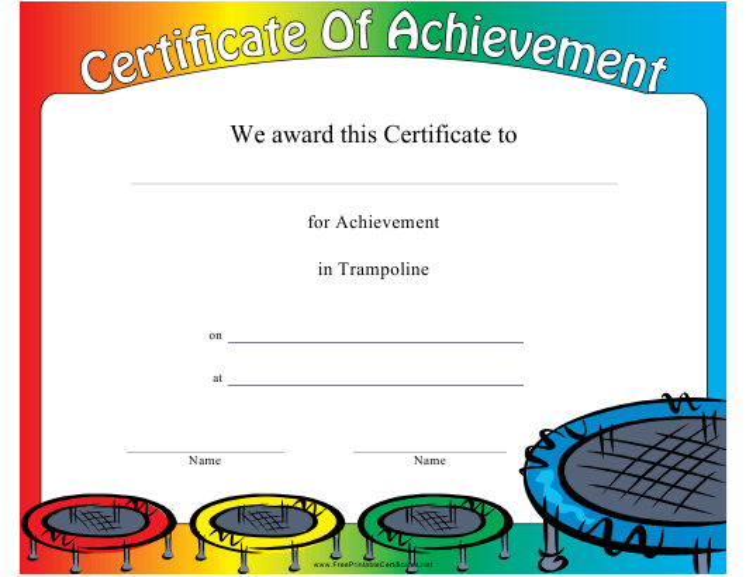 """Trampoline Certificate of Achievement Template"" Download Pdf"