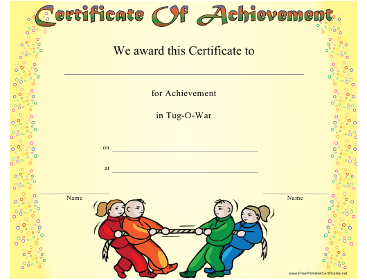 """Tug-O-war Achievement Certificate Template"" Download Pdf"