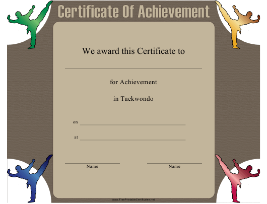 """Taekwondo Certificate of Achievement Template"" Download Pdf"