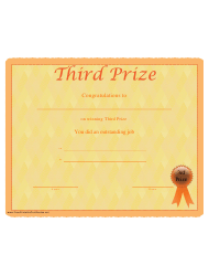 third prize certificate template