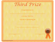 """""""Third Prize Certificate Template"""""""