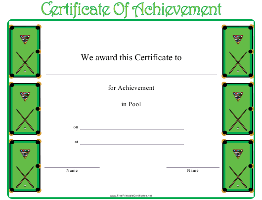 """""""Pool Certificate of Achievement Template"""" Download Pdf"""